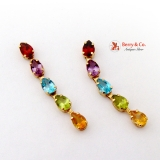 Multicolored Gem 14K Gold Dangle Earrings Garnet Amethyst Topaz Peridot Citrine