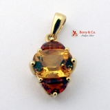 Orange Garnet And Citrine 14K Gold Pendant