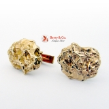 Gold Nugget Form 14K Gold Cufflinks 1940