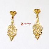 Ornate Filigree 14K Gold Dangle Earrings