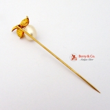 Cultured Baroque Pearl Berry Form 10K Gold Stick Pin With Box