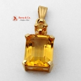 Two Stone Citrine Pendant 14K Gold