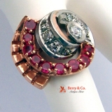 Retro Cocktail Ring Rose and White Gold 14 K Diamonds Rubies