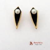 Modern Earrings 14 K Yellow Gold Pearls