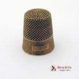 Antique 14 K Yellow Gold Thimble Engine Turned Decorations 1900