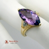 Dazzling Long Amethyst Checkerboard Cut Ring Diamond Accents 14 K Gold