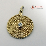 Round Spiral Wire Pendant Diamond Accent Center 18 K Yellow Gold
