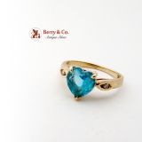 Brilliant Heart Cut Topaz Ring 14K Gold Diamonds