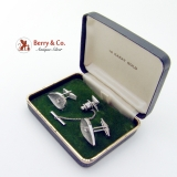 14K White Gold Teardrop Cuff Links Tie Tack Set Diamonds