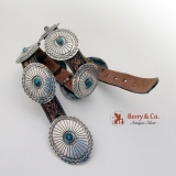 .Charles Mike Yazzie Navajo Concho Belt Sterling Silver Turquoise Leather 1970