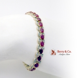 Amazing Natural Ruby Diamond Tennis Bracelet 14K Yellow And White Gold