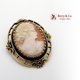 Antique Cameo Shell Openwork Brooch Pendant 14K Gold 1900