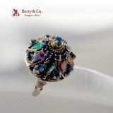 Vintage Princess Ring 14K Gold Sapphire Tigers Eye Chalcedony Rock Crystal 1920